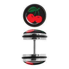 Steel Faux Plugs with Cherry Logo Fronts. Sold as a pair