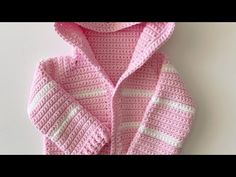 If you know how to single crochet you'll find this easy crochet baby hoodie free pattern very easy. In fact it's a great beginner's sweater free pattern. Crochet Baby Sweater Pattern, Crochet Baby Sweaters, Baby Sweater Patterns, Crochet Baby Clothes, Crochet Patterns, Crochet Ideas, Crochet Hoodie, Crochet Cardigan, Crochet Unique