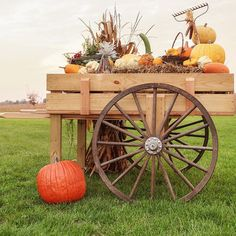 """Miller and her dad made this market pushcart together. """"I found the wheels from an auction and knew I wanted to make a pushcart with it eventually. It just took me five years to do it,"""" Miller says. The milk can atop the cart belonged to her Amish grandfather."""