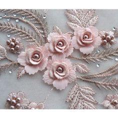 1X 3D Wedding Dress Applique Diy Bridal Headdress Lace Collar Lace Fabric Patch