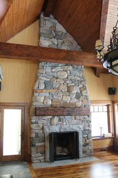 Fireplaces - Fireplaces for your cottage and home, granite, limestone, river rock, split boulder and other natural stone Bouldering, Fireplaces, Natural Stones, Granite, Cottage, River, Rock, Home Decor, Fireplace Set