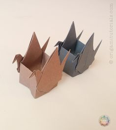 Box with Two Cranes – Origami Tutorials Origami Mouse, Origami Yoda, Origami Star Box, Origami Dragon, Origami Fish, Origami Cranes, Origami Hearts, Origami Flowers, Origami Simple