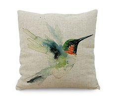 Amybria Oil Painting Linen Hummingbird Throw Pillow Case Sofa Cushion Cover Home Decor Gift: Amazon.co.uk: Kitchen & Home