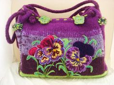 Felted Tote Purse Hand bag Pansies by FeltedFantasies on Etsy, $305.00