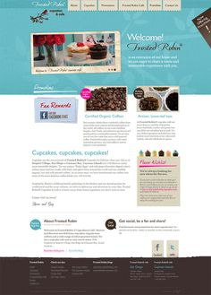 This Bakery website makes great use of textures and imagery. Despite the use of cold blues, the site offers a warm welcoming feeling. The eye is immediately drawn to the large scrolling image marquee of yummy cupcakes and then instantly to the websites display heading to the right. Good use of spacing. Would perhaps benefit from being a responsive website to better cater for mobile and tablet devices. http://www.frostedrobincupcakes.com/    #concretecloud web design review