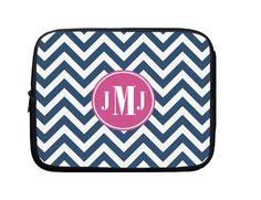 Laptop Sleeve, Laptop Case, Laptop Bag Dark Blue Chevron Pink Monogram