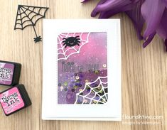 Trick or Treat Halloween Shaker Card - Flourishtina Halloween Cards, Halloween Treats, Ink Splatter, Shaker Cards, Lawn Fawn, Distress Ink, My Stamp, Flourish, Trick Or Treat