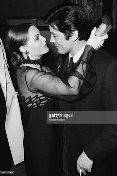 Austrian-born German actress Romy Schneider with her former partner French actor Alain Delon during the premiere of Les Choses de la vie, directed by Claude Sautet.