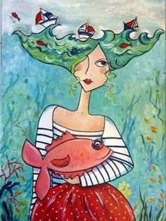 la houle échevelée gives me ideas for a crazy tea cosy Happy Paintings, Owl Paintings, Wal Art, Art Abstrait, Whimsical Art, Beach Art, Collage Art, Painting & Drawing, Amazing Art