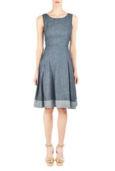 I <3 this Contrast hem chambray A-line dress from eShakti