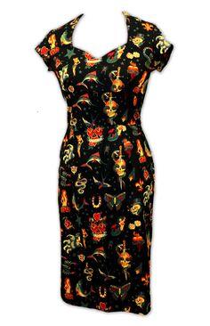 Rockabilly Sailor Jerry Tattoo Dress Custom by MadForRetro on Etsy, $110.00