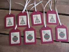 Country Christmas Gift Tags Set of 8 Gift Tags by SnowNoseCrafts