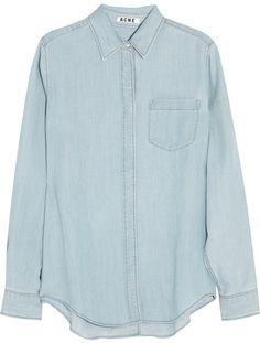 $260, Light Blue Denim Shirt: Acne Wave Denim Shirt. Sold by NET-A-PORTER.COM. Click for more info: http://lookastic.com/women/shop_items/13816/redirect