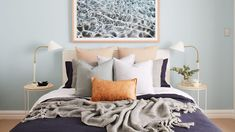 [dm-row padded-top=true] A dreamy coastal bedroom makeover From a neutral palette to a dreamy coastal retreat, busy parents Sarah and Jon tackle a DIY weekend project to transform their master bedroom. Bedroom Themes, Bedroom Styles, Bedroom Colors, Bedroom Decor, Master Bedroom, Bedroom Ideas, Bedroom Inspo, Bedroom Inspiration, Coastal Bedding