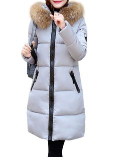 Casual Women Long Sleeve Faux Fur Hooded Long Cotton Padded Coat