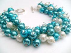 Set of 6 - Bridal Jewelry, Wedding, Pearl Bridesmaid Bracelet, Turquoise Blue Bracelet, Cluster Bracelet, Pearl Bracelet, Blue Pearl Jewelry