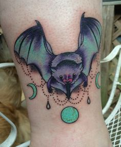 Bat Tattoo with Triple Goddess Moons