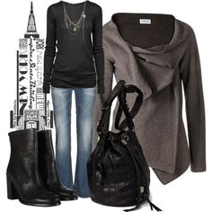 """Fall Style Charcoal and Black"" by anne-ratna on Polyvore"