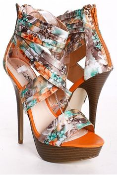 ORANGE SATIN FLORAL MULTI PLEATED PLATFORM HEELS