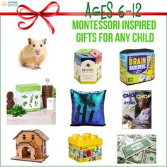 Are you trying to avoid meaningless presents for your child this year? Here are some #MontessoriInspiredGifts specifically for six to 12-year-olds. #MontessoriRocks