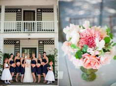 Navy dresses w/ coral flowers; want the dresses a little brighter; more ivory in bouquets