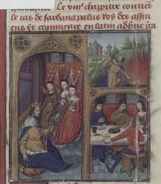 Sardanapalus spinning, De casibus (BNF Fr. 233, fol. 46v), third quarter of the 15th century