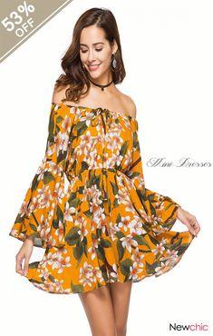 Sukibandra 2018 Summer Floral Print Off The Shoulder Short Dress for Woman  Flare Sleeve Sexy Beach Dresses Vintage Boho Dress 2a5fcfaf37e3