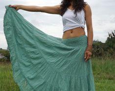 Falda larga falda Maxi / / larga falda Boho completo falda algodón falda / modesta falda / Plus tamaño falda / Color verde