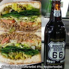 Come in & enjoy our vegetarian Lentilicious Sandwich* & a bottle of Route 66 Root Beer today! #PleasingPair #BrickMarketDeli #YourNeighborhoodDeli #Pomona *can be made vegan