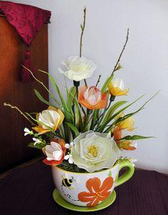 Handmade Nylon Flower Arrangement by LiYunFlora on Etsy, $45.00