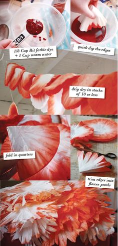 I used Rit liquid fabric dye because I wanted a rich, vibrant orange...DIY dyed coffee filter paper flowers