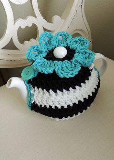 crochet tea pot cozy | Crocheted Teapot Cozy by JillyBeaniesBoutique on Etsy