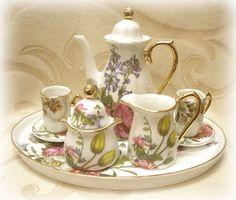 Fine Porcelain Miniature Tea Set with Mixed Flowers Design