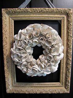 Framed Newspaper Wreath