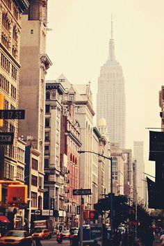 A hazy city day.