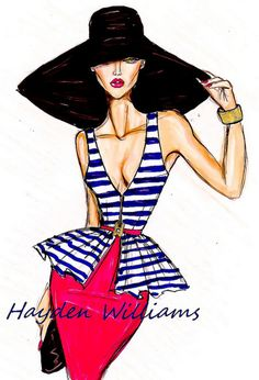 'Très Chic' Fashion Illustration by Hayden Williams Hayden Williams, Love Fashion, Fashion Art, Fashion Design, Paper Fashion, Trendy Fashion, Drawing Hats, Beautiful Sketches, Disney Marvel