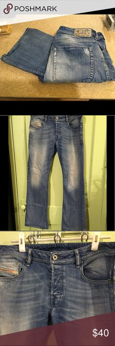 """DIESEL - """"Zathan Regular Bootcut"""" Jeans Diesel Jeans Size: 33X32 Descriptions: Light wash jeans. """"Zathan Regular Bootcut"""". Open  pockets on front and  back. Button fly w/ button closure at waist. Belt loops. 98% cotton/2% elastane. Condition: Good used condition. Slightly wrinkled from storage. Light distressing throughout. Brown spots on back of left leg and pink spots on back pockets.  Dimensions: 32"""" inseam. 33"""" waist. 42"""" from waistband to leg hem. 9.5"""" opening at leg hem. 9"""" rise…"""