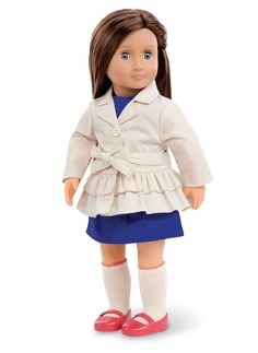 Lilia | Our Generation DollsOur Generation girls are the happiest when we are surrounded by the people we love. Life is sweetest when we can enjoy it with the people that make us smile even when skys are grey.1 dress, 1 trench coat, 1 pair of knee length socks, 1 pair of shoes. Can find at Target.com