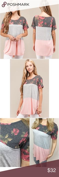 """Blush Floral Colorblock Tunic Top Tee SML Yay!  I'm all about the latest trends...floral, blush, colorblock & tunics. This little top has them all. Relaxed, stretchy & flowy too!  Made in USA 92% rayon - 8% spandex.   Small (Fits up to Medium) Bust 32-36"""" Length 29"""" Med (Fits up to Large) Bust 36-40"""" Length 30"""" Large (Fits up to XL) Bust 40-44"""" Length 31"""" Tops"""