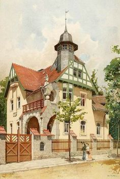 Villa in Loschwitz bei Dresden Architecture Blueprints, Architecture Drawings, Architecture Old, Architecture Details, Storybook Homes, Ancient Greek Architecture, Old Mansions, Witch House, House Drawing