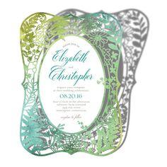 Blissfully Framed - Signature Laser Cut Wedding Invitations - Lady Jae & Violet - Jade Front