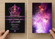 Galaxy Glitter Crown for her Eighteenth or Twenty First Birthday 18th or 21st. Handmade professional printed invitations.