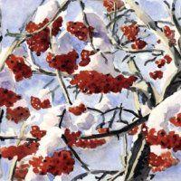 """Winter Berries"" watercolor 8""x10"""