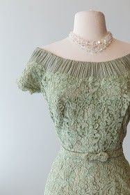 1950's couture made sage green alencon lace cocktail dress with finely pleated off the shoulder neckline. | Xtabay vintage