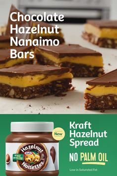 Chocolate Hazelnut, Chocolate Desserts, Baking Recipes, Cookie Recipes, No Bake Desserts, Dessert Recipes, Nanaimo Bars, Hazelnut Spread, Classic Recipe