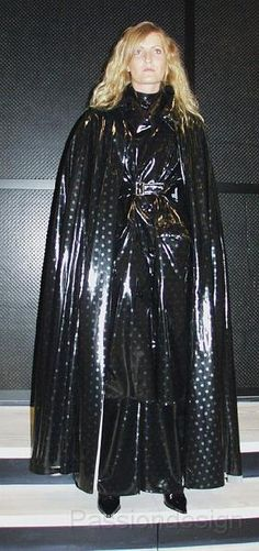 Black PVC Raincoat & Cape