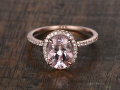 6x8mm Morganite Engagement ring Rose gold,Diamond wedding band,14k,Emerald Cut,Gemstone Promise Bridal Ring,Claw Prongs,Halo Half Eternity by popRing on Etsy