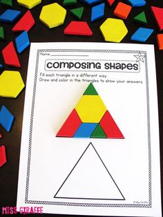 Shapes in Grade Composing Shapes in Grade activities and ideas galore!Composing Shapes in Grade activities and ideas galore! 1st Grade Activities, Geometry Activities, 1st Grade Math, Grade 1, 2d Shapes Activities, Learning Shapes, Sensory Activities, Math Classroom, Kindergarten Math
