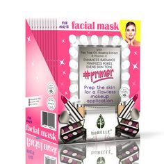 Pucker up to this delicious set from BioBelle.  What's inside:  12 #Primer sheet masks  1 Makeup Sponge  1 Lip Clutch  1 Hair Piece      Our innovative Perfecting Primer sheet mask was formulated with carefully selected ingredients that are specific and beneficial for preparing the skin for makeup application.      In just 5 minutes, our nutrient rich serum made with Tea Tree Oil, Rosehip Extract and Vitamin C, makes the skin look smoother, more hydrated, and glowing.. ready for you to ge...