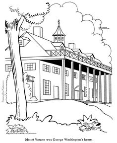 george washingtons home mount vernon coloring page
